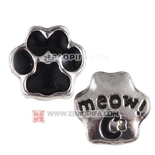 镀白k滴油meow猫爪印lockets charm 批发 厂家直销